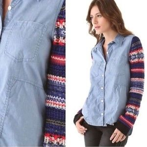 Free People Fair Isle Blue Chambray Button Down
